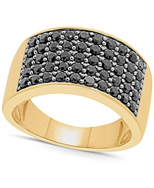 Men's Black Diamond Ring (2 ct. t.w.) in 14k Gold-Plated Sterling Silver