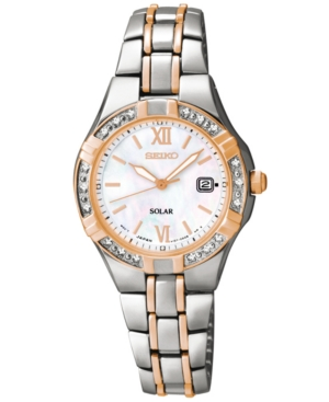 Seiko Women's Solar Diamond Accent Two-Tone Stainless Steel