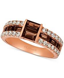 Chocolate Quartz (7/8 ct. t.w.) & Nude Diamond (1/2 ct. t.w.) Ring in 14k Rose Gold