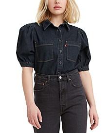 Alice Cotton Short-Sleeve Denim Blouse