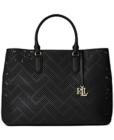 Marcy Perforated Leather Large Satchel