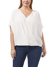 Plus Size Dolman Sleeve Fold Front V-Neck Blouse