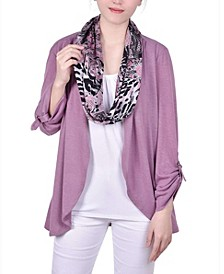 Women's 3/4 Roll Sleeve 3Fer with Detachable Scarf