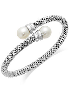 Cultured Freshwater Pearl Bypass Bangle Bracelet in Sterling Silver (10mm)