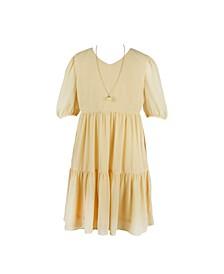 Big Girls Puff Sleeve V-Neck Dress