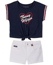 Toddler Girls Tie-front T-shirt and Denim Shorts, 2 Piece Set