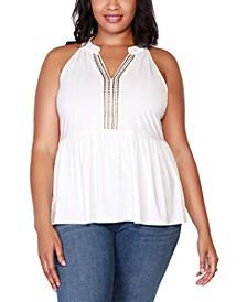 Black Label Plus Size Embellished Sleeveless Peplum Top