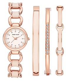 Woman's Rose Gold-Tone and Blush Enamel Bracelet Watch set 24mm