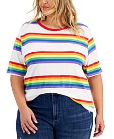 Trendy Plus Size Rainbow Stripe Ringer T-Shirt