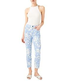 Floral Printed Cropped Skinny Jeans