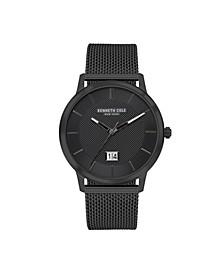 Men's 3 Hands Date Black Stainless Steel Mesh Watch 42mm