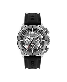 Men's Chronograph Black Silicon Strap Watch 45mm