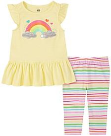 Little Girls 2-Piece Peplum Tunic Top and Striped Capri Leggings Set