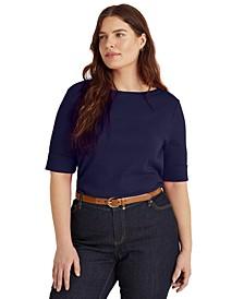 Plus Size Cotton-Blend Boatneck Top