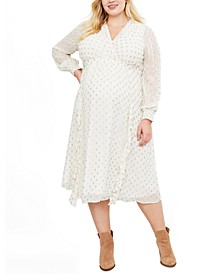 Jessica Simpson Plus Size Clip-Dot Flounce Maternity Dress