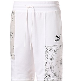 """Men's OffBeat Regular-Fit Patchwork Printed 8"""" French Terry Shorts"""
