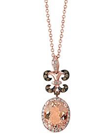 "EFFY® Morganite (2-1/3 ct. t.w.) & Diamond (1/4 ct. t.w.) Fleur de Lis 18"" Pendant Necklace in 14k Rose Gold"