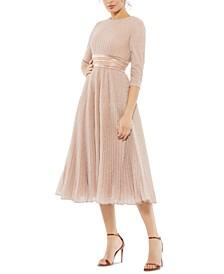 Metallic A-Line Midi Dress