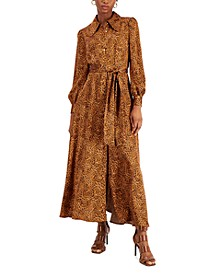 Animal-Print Satin Maxi Dress, Created for Macy's