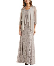 Embellished Lace Dress & Flyaway Jacket