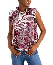 Cotton Printed Ruffled Top, Created for Macy's