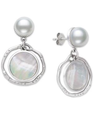 Cultured Freshwater Pearl (9mm) & Mother-of-Pearl Orbital Disc Drop Earrings in Sterling Silver