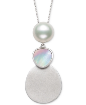 """Cultured Freshwater Pearl (10mm) & Mother-of-Pearl Triple Drop 18"""" Pendant Necklace in Sterling Silver"""