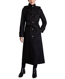 Bibbed Hooded Maxi Trench Coat