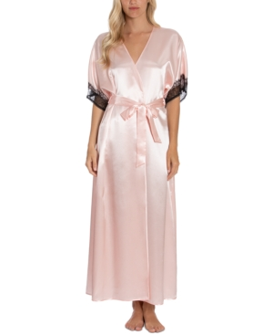 Max Paisley Solid Charmeuse Satin Robe