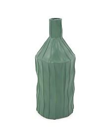 Ribbed Ceramic Bottle Vase