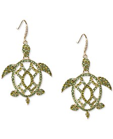 Gold-Tone Green Pavé Turtle Drop Earrings, Created for Macy's