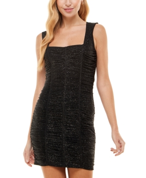 Juniors' All Over Ruched Bodycon Dress
