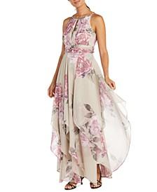 Petite Keyhole Halter Gown