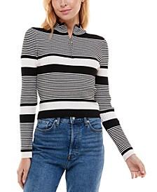 Juniors' Quarter-Zip Ribbed Striped Sweater