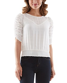 Ruched-Sleeve Smocked-Bottom Woven Blouse