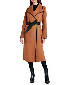 Faux-Leather-Trim Belted Wrap Coat, Created for Macy's