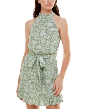 Juniors' Floral-Print Halter-Neck Dress
