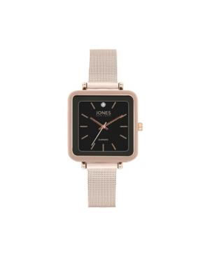 Jones New York Women's Genuine Diamond Square Rose Gold-Tone Case Black Strap Analog Watch 26mm
