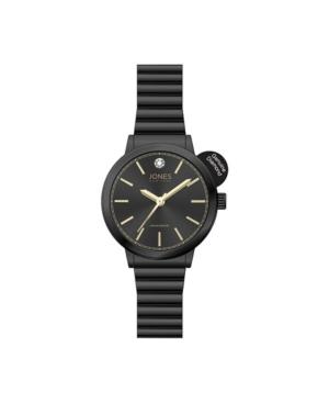 Women's Genuine Diamond Black Dial and Metal Narrow Bracelet Analog Watch 28mm