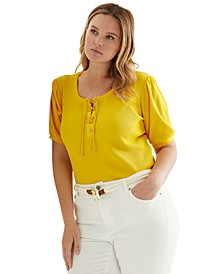Plus-Size Waffle-Knit Puff-Sleeve Top