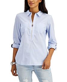 Cotton Half-Zip Top, Created for Macy's