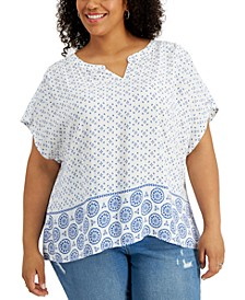 Plus Size Mixed-Print Split-Neck Top, Created for Macy's