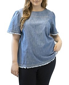 Plus Size Bell Sleeve Blouse with Fringe