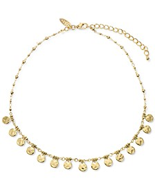 """Gold-Tone Hammered Disc Collar Necklace, 17"""" + 3"""" extender, Created for Macy's"""