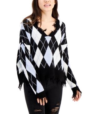 Juniors' Distressed Argyle Sweater