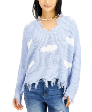 Juniors' Clouds Destructed V-Neck Sweater
