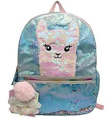 Llama Single Backpack with Hair Scrunchies