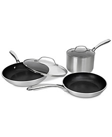 5-Pc. Brushed Silver Ultra-Durable Nonstick Cookware Set