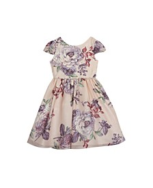 Toddler Girls Floral Printed Chiffon Cap Sleeve Dress