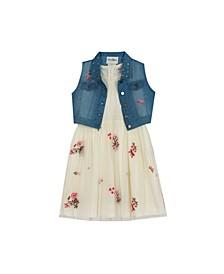 Big Girls Floral Embroidered Dress with Denim Vest